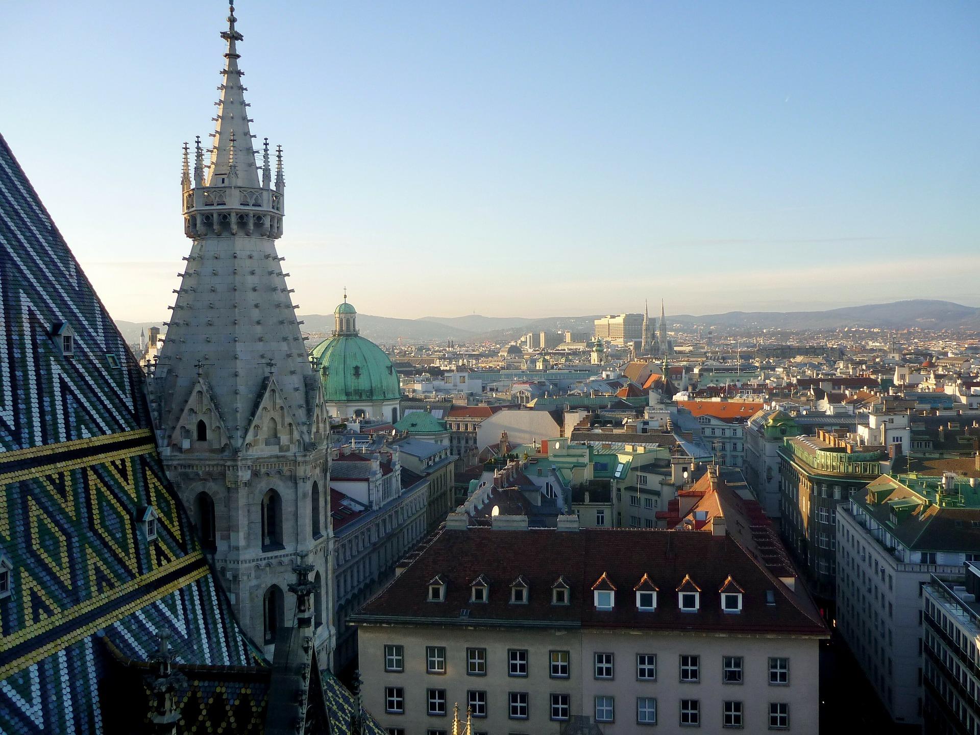 Ausblick vom Stephansdom-Turm über die Dächer der Stadt