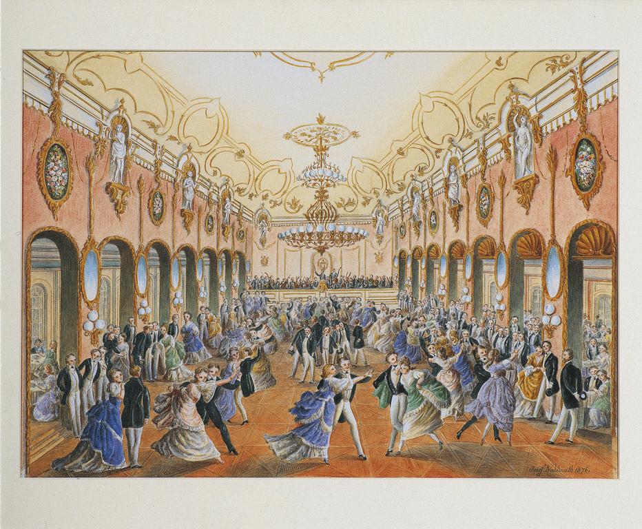 Ball in der Strauss Ära /historisches Aquarell / 1876, Strauss Museum (Wohnung)