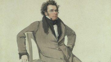 Franz Schubert / historisches Aquarell / Porträt