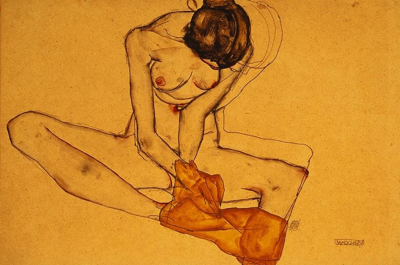 """Zeichnung von Egon Schiele """"Sitzende Frau"""" (Sammlung Leopold)"""