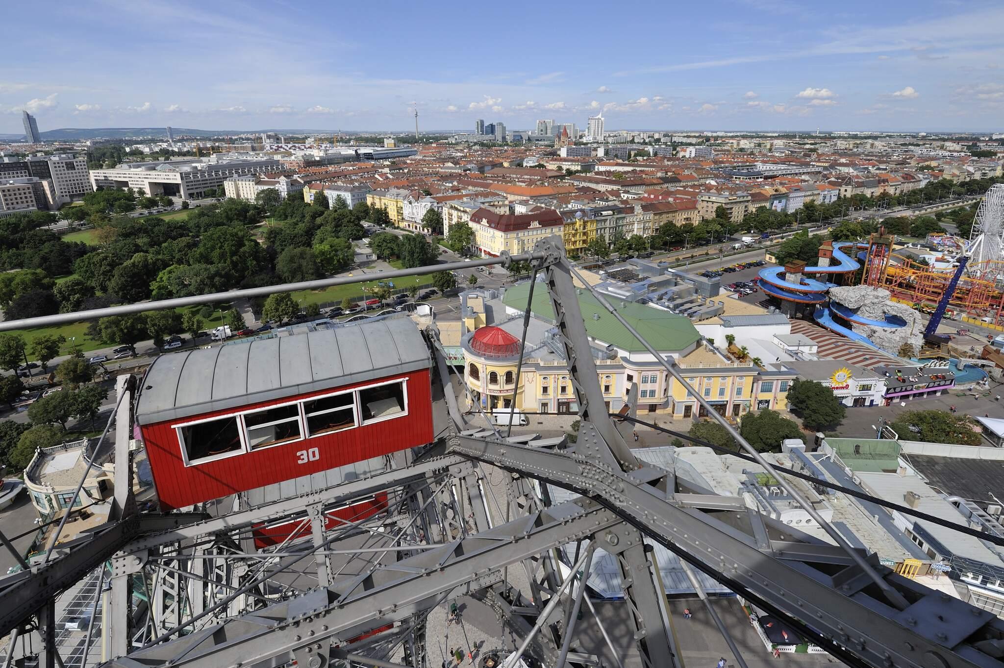 Ausblick über die Stadt Wien vom Riesenrad im Prater (2. Bezirk)