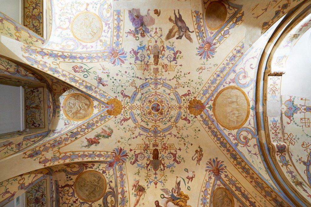 Detailansicht des Deckenfreskos in der Sala terrena