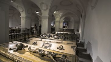 habsburger kings in vienna, austria. the bones of 145 habsburg royalty, plus urns containing the hearts or cremated remains of four others, are here.