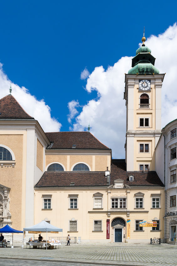 freyung square with scottish abbey and benedictine monastery with guesthouse in old city centre of vienna, austria
