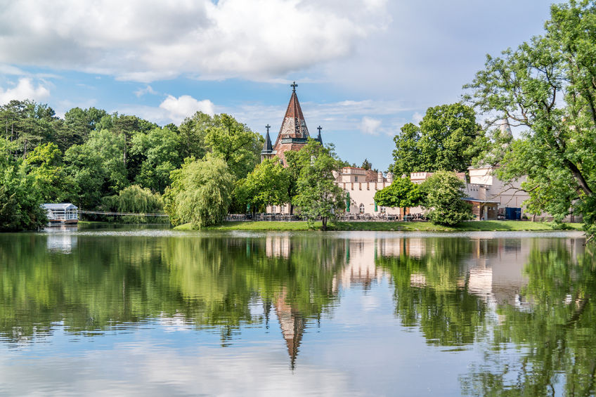 Franzensburg castle and pond in laxenburg castle gardens near vienna, lower austria