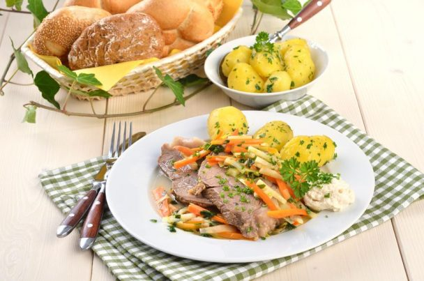 prime boiled beef with root vegetables and butter potatoes (viennese tafelspitz)