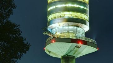 night scene of donauturm in vienna, danube tower
