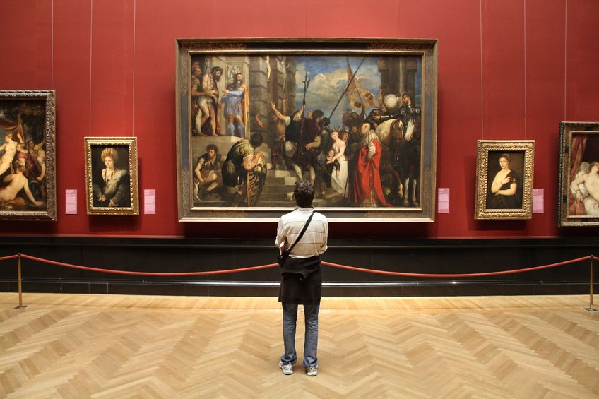 tourist admires art in museum of art history