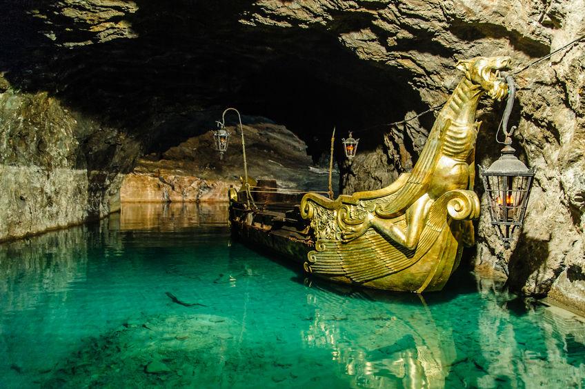 golden boat in an underground lake, taken in lower austria
