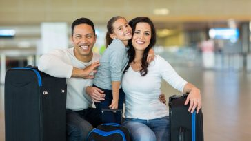 portrait of beautiful family at airport