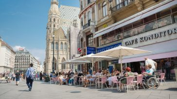people sitting and walking at cafe in the historic stephansplatz