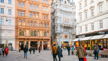 tourists on graben street in old town in vienna