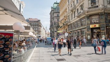 people walking in the famous shopping graben street center of vienna