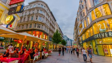 walking around singerstrasse and graben area as evening lights set in, very charming, clean city streets. 21Forever