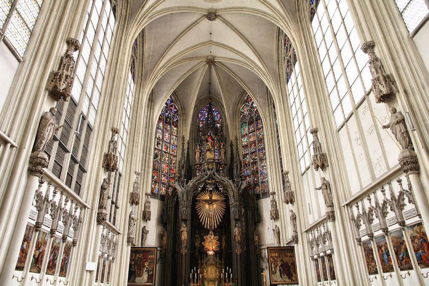 interior view of maria am gestade church, a famous gothic church