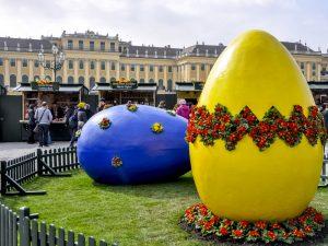 large easter eggs at easter market of schönbrunn palace