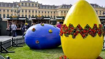 large easter eggs at easter market of schönbrunn palace