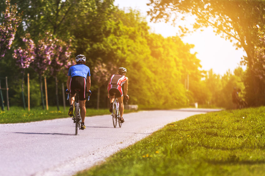 a couple riding bicycles on the way towards evening