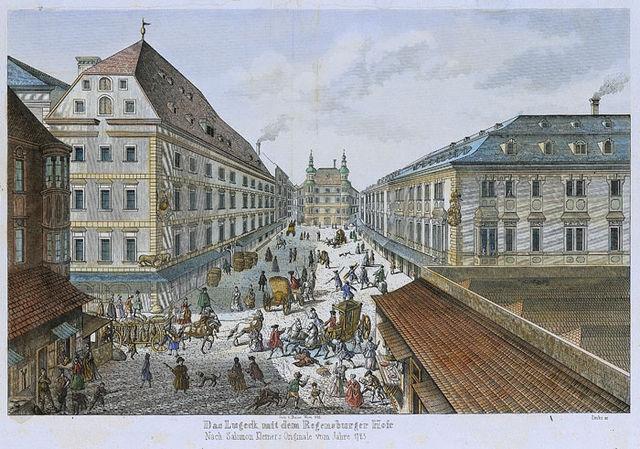 Blick aufs Lugeck mit dem Regensburger Hof aus der Richtung Hoher Markt (Salomon Kleiner, 1723)
