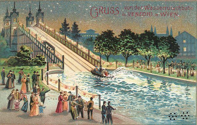 Plakat der ehemaligen Wasserrutschbahn