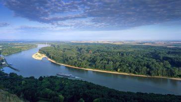 Luftaufnahme der Donau-Auen, Donau und Wälder