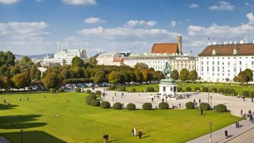 Panorama view at Volksgarten park and the Heldenplatz