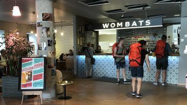 Reception at the Wombats with tourists