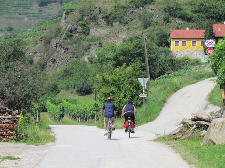 Radfahrer unterwegs auf dem Donauradweg