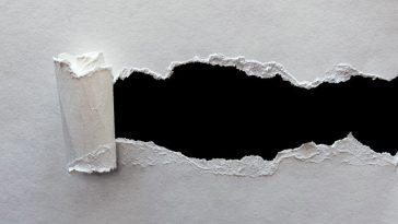 ein Blatt Papier welches an einer Stelle aufgerissen wurde