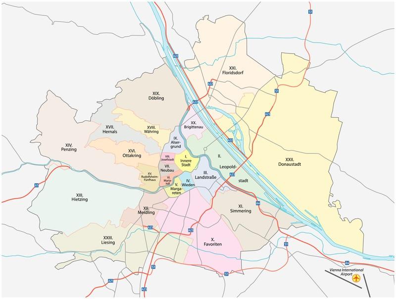 Darstellung der Wiener Bezirke auf einer Karte