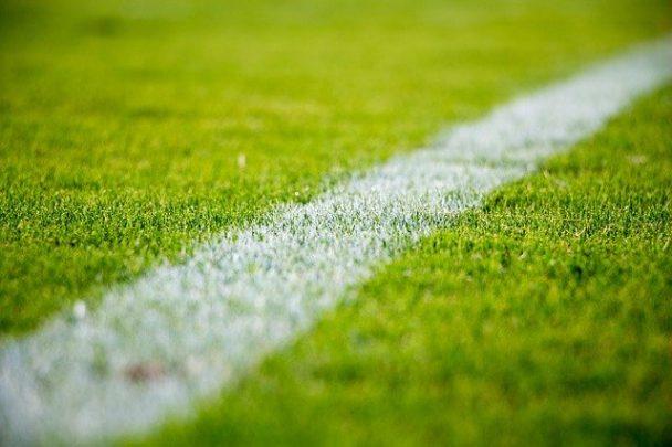 Rasen auf dem Fußballfeld mit weißer Linie